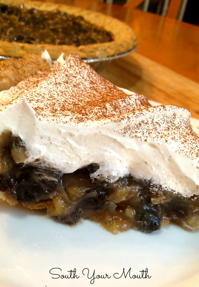 Vintage sour cream and raisin pie with warm spices and whipped cream topping.