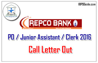Repco Bank PO/Junior Assistant/Clerk Call Letter