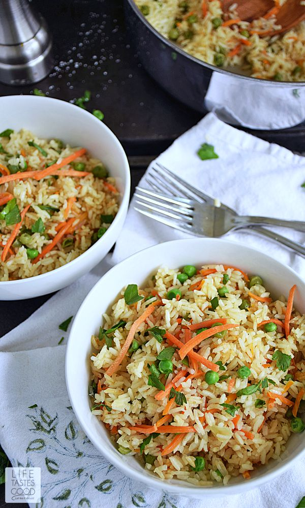 Homemade Rice Pilaf | by Life Tastes Good is an easy side dish that is loaded with fresh flavors, and it is decidedly better for you than boxed rice mixes!