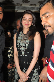 Kajal Aggarwal in lovely Black Sleeveless Anarlaki Dress in Hyderabad at Launch of Bahar Cafe at Madinaguda 049.JPG