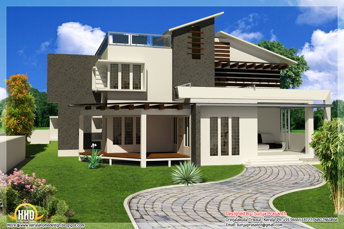 New contemporary mix modern home designs kerala home for New home blueprints photos