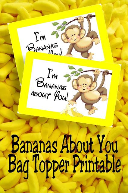 banana monkey bag topper printable