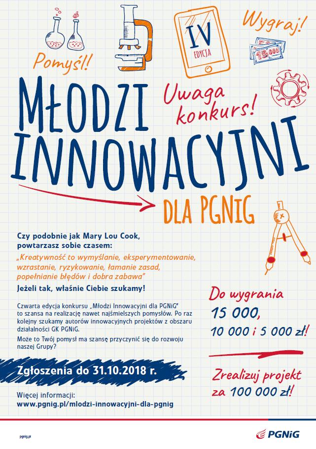 Młodzi Innowacyjni dla PGNiG 2018 - plakat