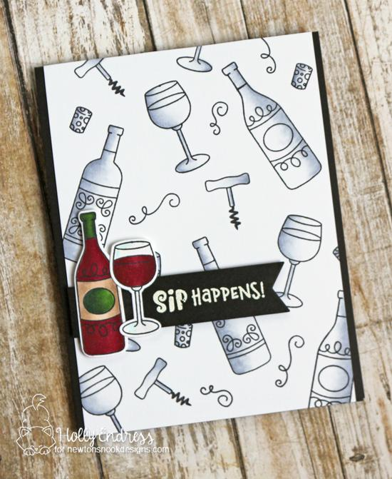 Wine card by Holly Endress | Wine a Little Stamp Set by Newton's Nook Designs #newtonsnook #handmade #winestamps