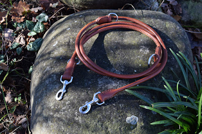 Adjustable training leash made in rolled leather suitable for dobermann rottweiler and other large size dogs