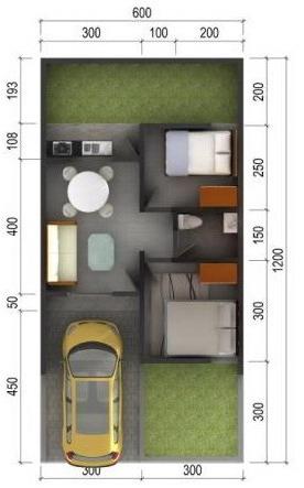 denah rumah minimalis modern 1 lantai 2 kamar  tipe 36