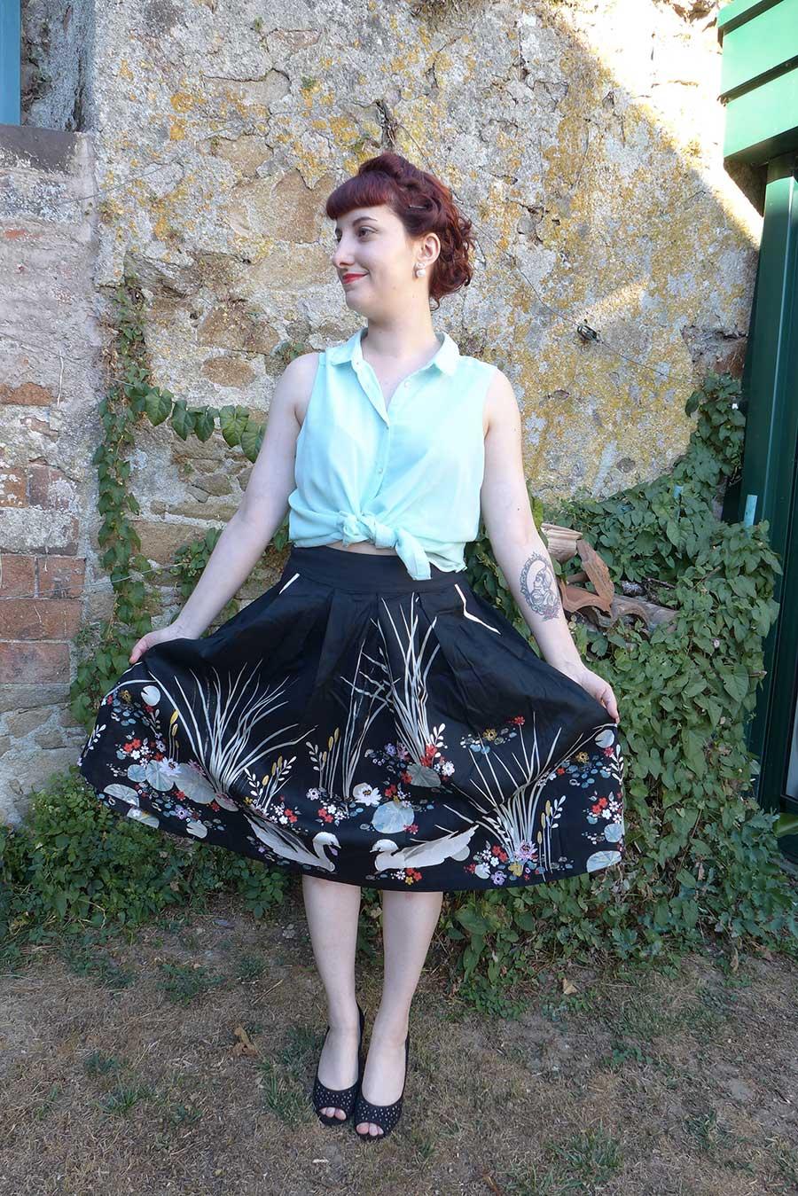 "Jupe dress ""Danialla"" black swan, cygne noir Lindy Bop"
