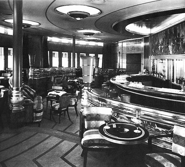 the 1936 Queen Mary interior bar, photograph