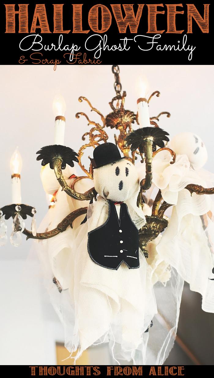 Burlap ghost family
