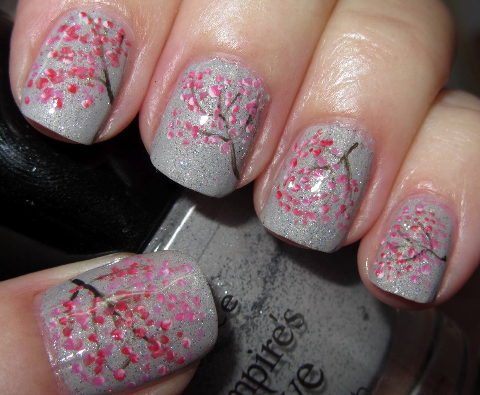 Marias Nail Art And Polish Blog Cherry Blossoms On A Rainy Day Kirseb 230 Rblomster P 229 En
