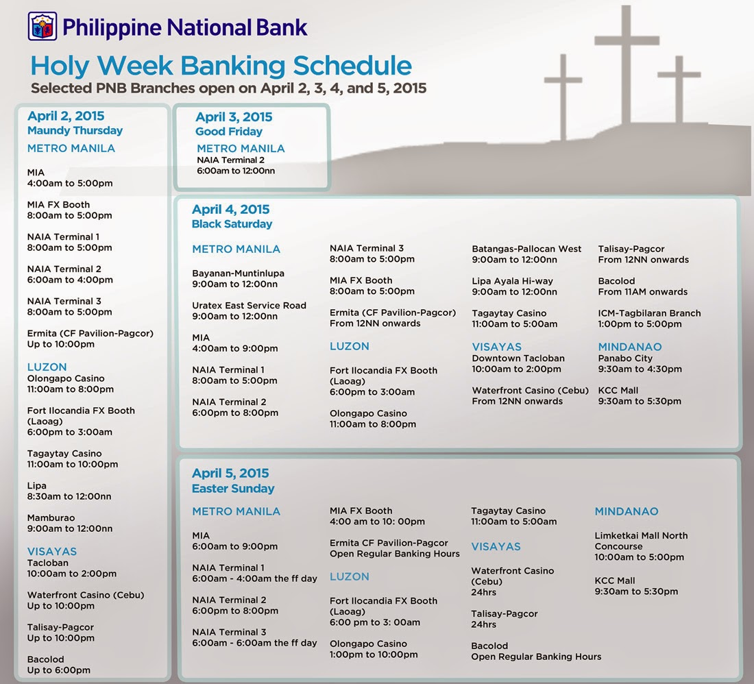 Banking Hours Schedule Holy Week 2015 announced The Summit Express