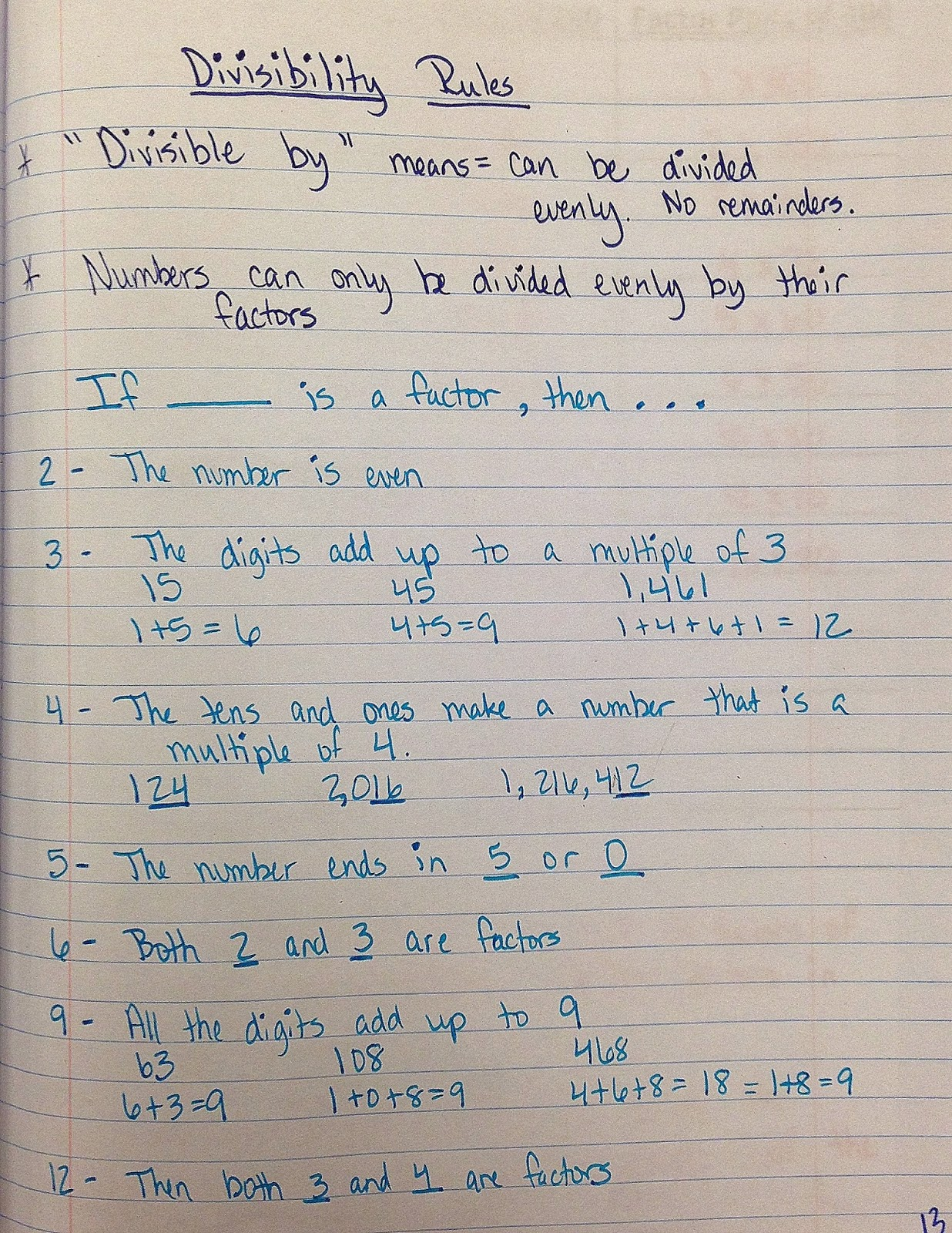 The 4th Grade May Niacs Divisibility Rules
