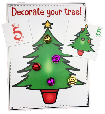 Practice counting to 10 with these free Christmas tree counting mats.