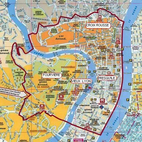 Mapa de Lyon, Lió, Unesco World Heritage, Patrimoni de la Humanitat, France, França