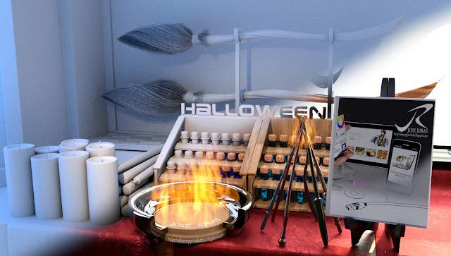 Proceso de renderización de imagen Hallowen, proceso, Blender