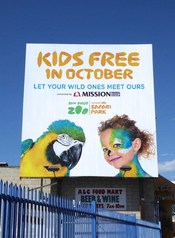 Kids free October San Diego Zoo billboard