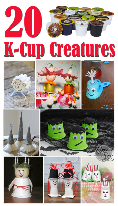 A great way to upcycle old KCups.  20 Unique Ideas for creatures you can craft out of coffee pods.  Great for kids!