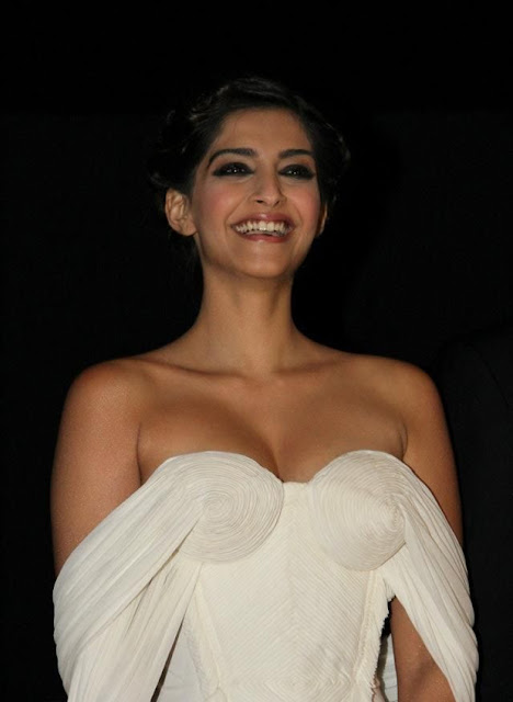actress Sonam Kapoor Hot Pics in White Dress