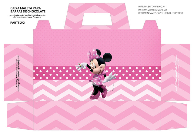 Minnie in Pink Free Printable Suitcase Box.