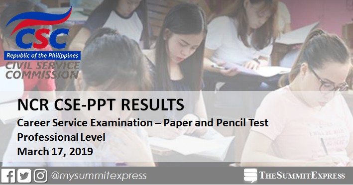 NCR Passers: March 2019 Civil service exam results CSE-PPT