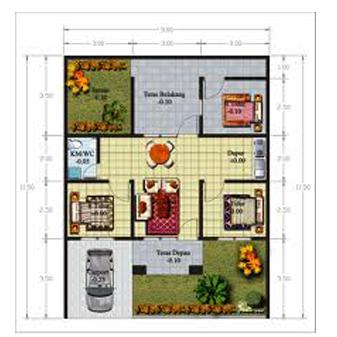 denah rumah 3 kamar tidur untuk rumah minimalis - desain rumah
