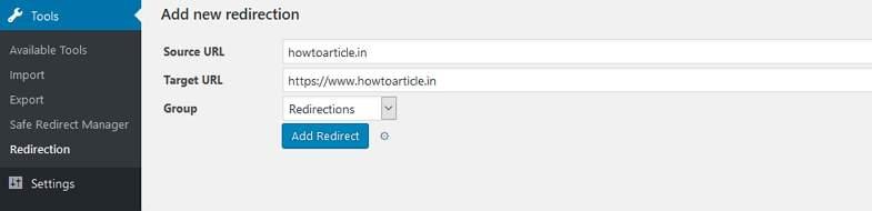 Redirection WordPress plugin for settin up 301 redirect