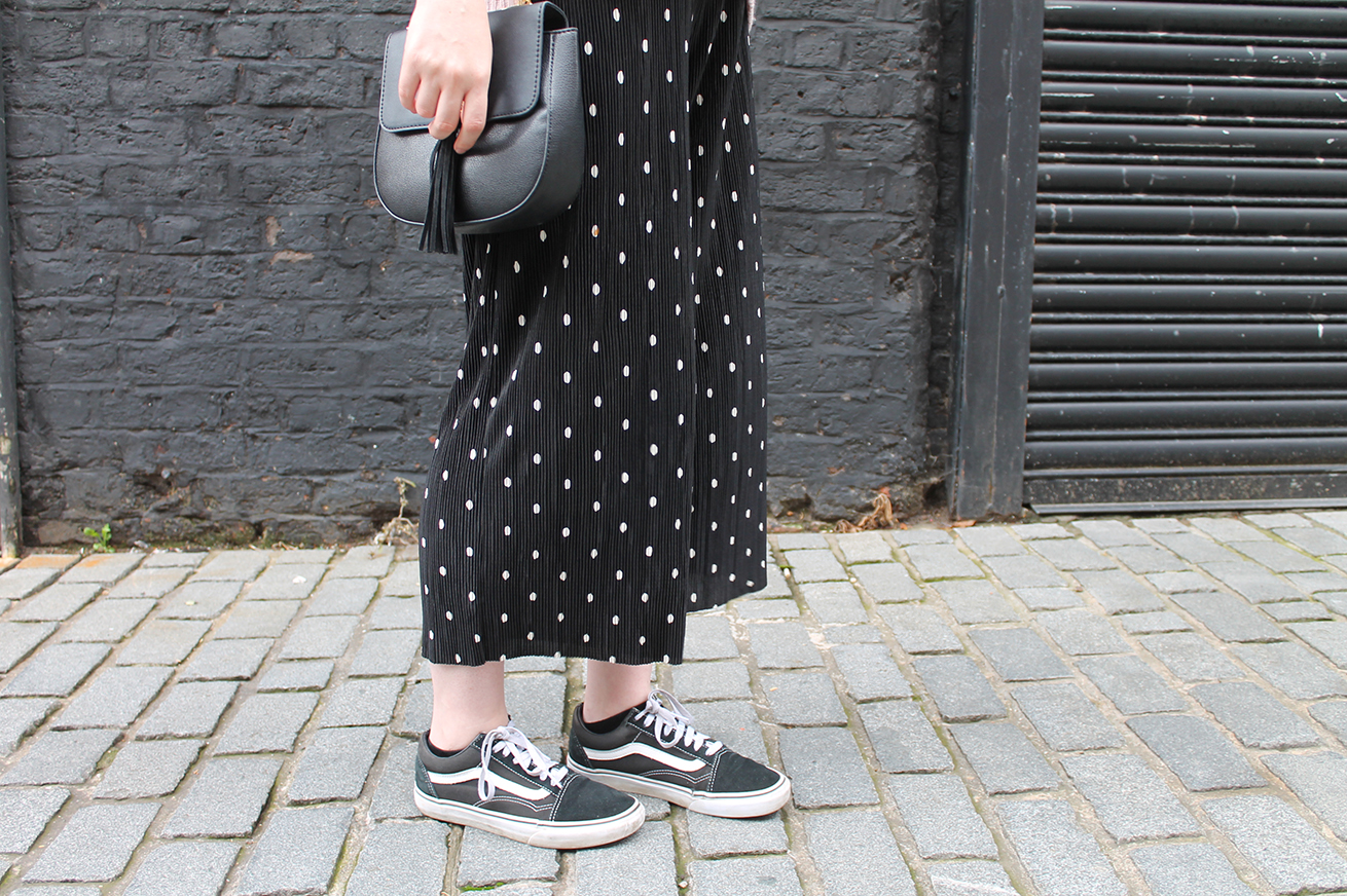 Topshop saddle bag in Chloe style, zara polka dot culottes trousers 2016