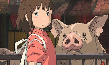 Chihiro with her parent turned into a pig in Spirited Away 2001 animatedfilmreviews.filminspector.com