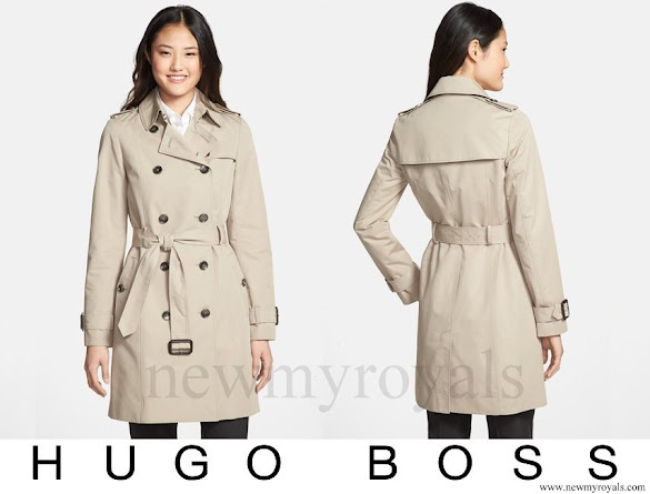 Queen Letizia wore Hugo Boss Cascadia Double Breasted Trench