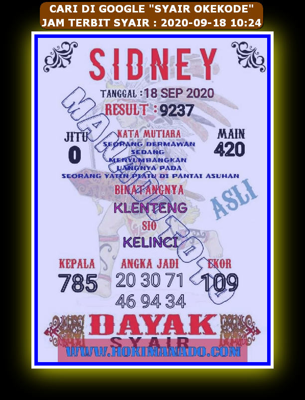 Kode syair Hongkong Sabtu 19 September 2020 81