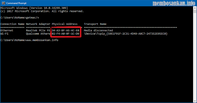 tampilan MAC Address di command prompt