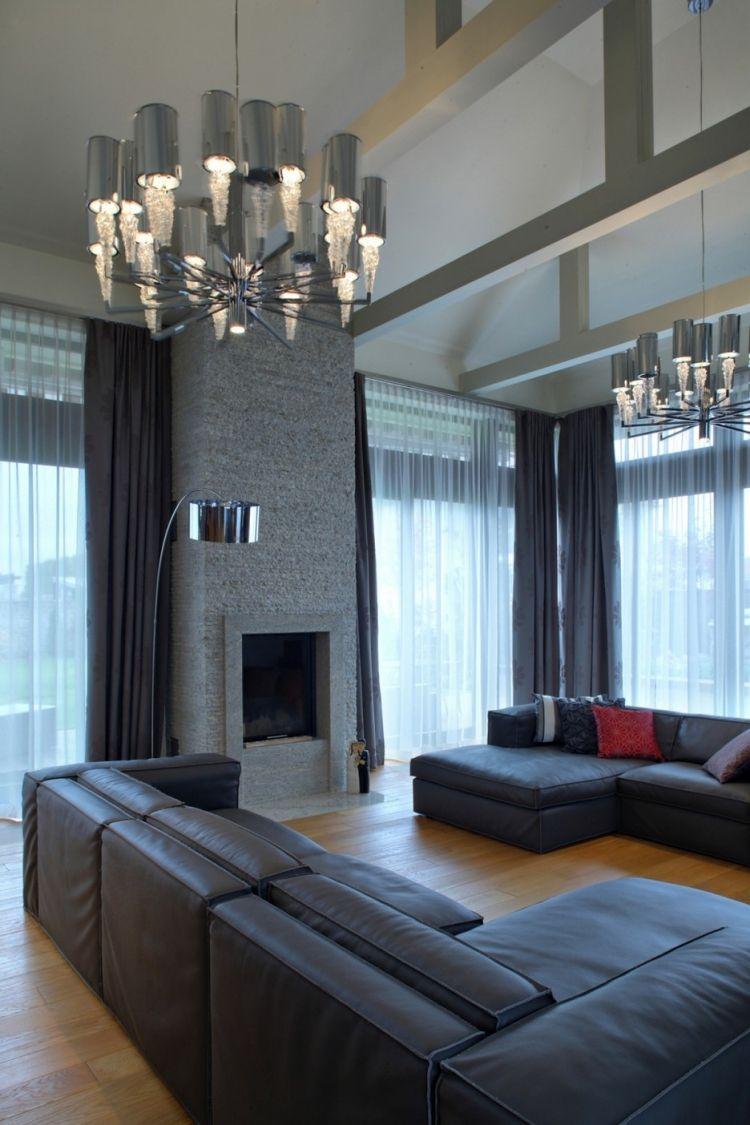 12 salas en color gris salas con estilo for Paredes focales