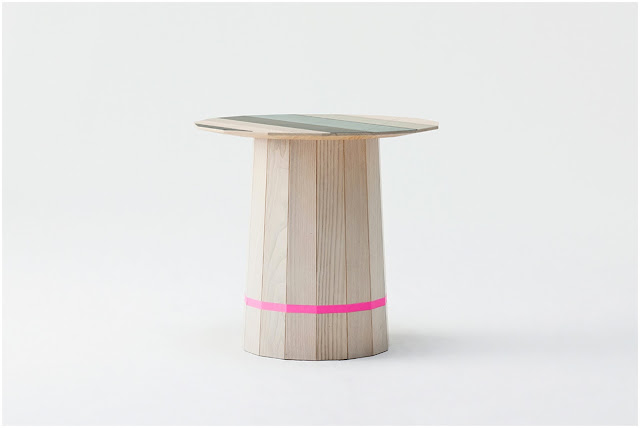 Colour Wood side table with pink stripe designed by Scholten & Baijings for Karimoku New Standard