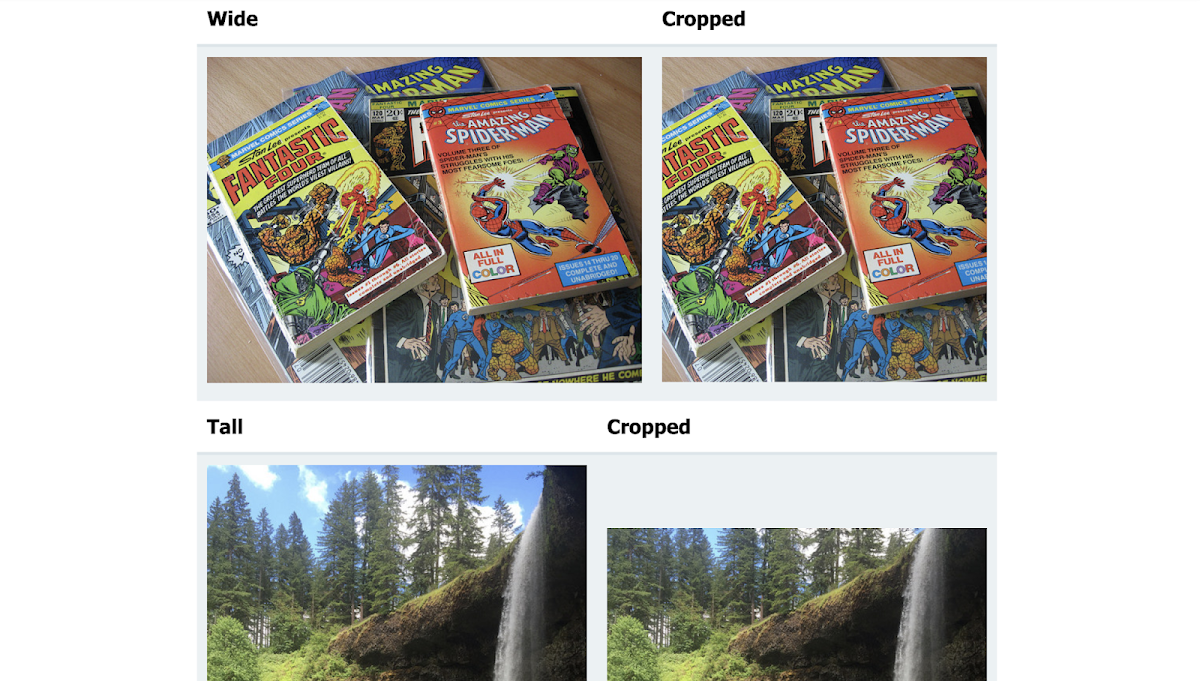 Cropped image thumbnails with SVG