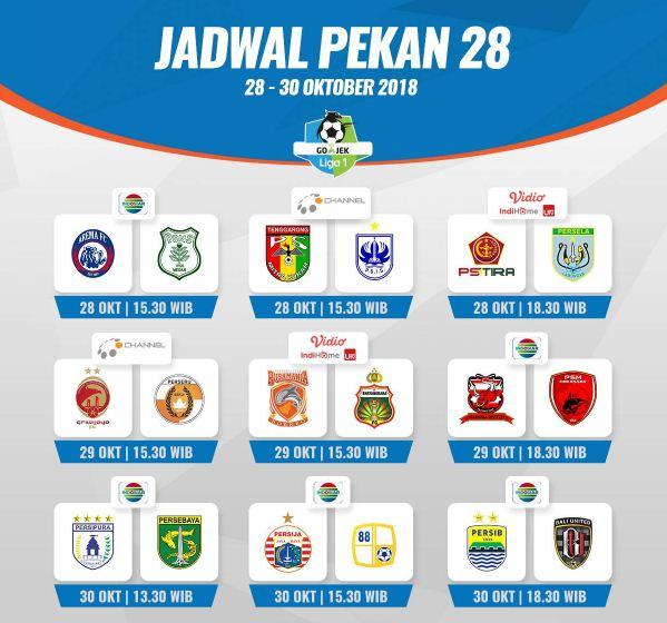 Jadwal Lengkap Liga 1 2018 Pekan 28