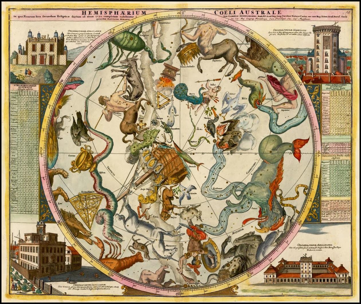 Hemisphaerium Coeli Australe in quo Fixarum loca secundum Eclipticae ductum ad anum 1730 . .