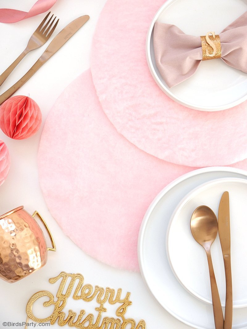 DIY No-Sew Pink & Fluffy Table Place Mats - learn to craft these pretty, quick and easy place-mats for your holiday tablescapes or party tables! by BirdsParty.com @birdsparty #diy #diyplacemats #diychristmastabledecor #diychristmas #christmastable #christmascrafts #pinkchristmas #pinkplacemats
