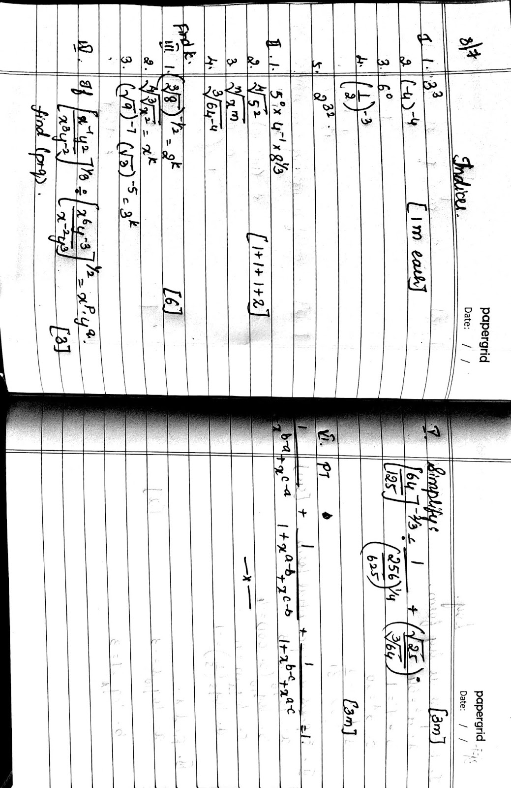 Cbse Icse Maths Exponents Indices Worksheets