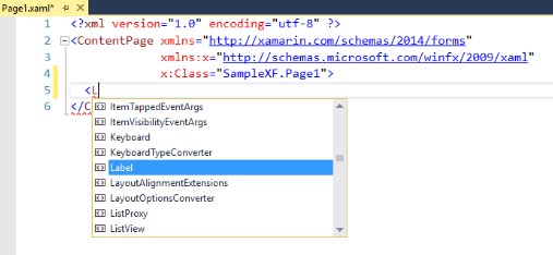 Solution: Xamarin.Forms Intellisense is not working inside Grid, StackLayout.. etc