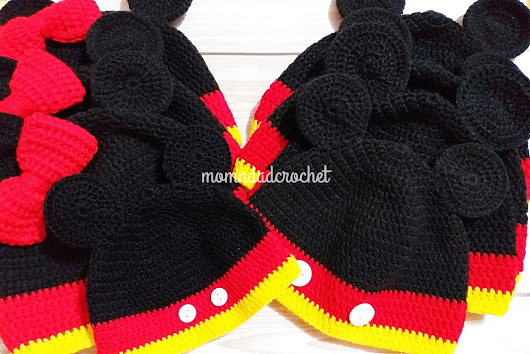 Crochet Mickey and Minnie Mouse Hats Set Tuesday, January 22, 2019