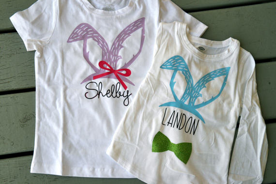 Personalized coordinating Easter shirts for siblings
