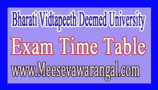 Bharati Vidtapeeth Deemed University Pre Ph.D Course Work Programme Jan 2017 Exam Time Table