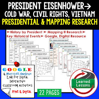 President Eisenhower, American History Research Graphic Organizers, American History Map Activities, American History Digital Interactive Notebook, American History Presidential Research, American History Summer School
