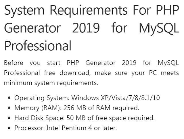 Download the PHP Generator 2019 for MySQL Professional