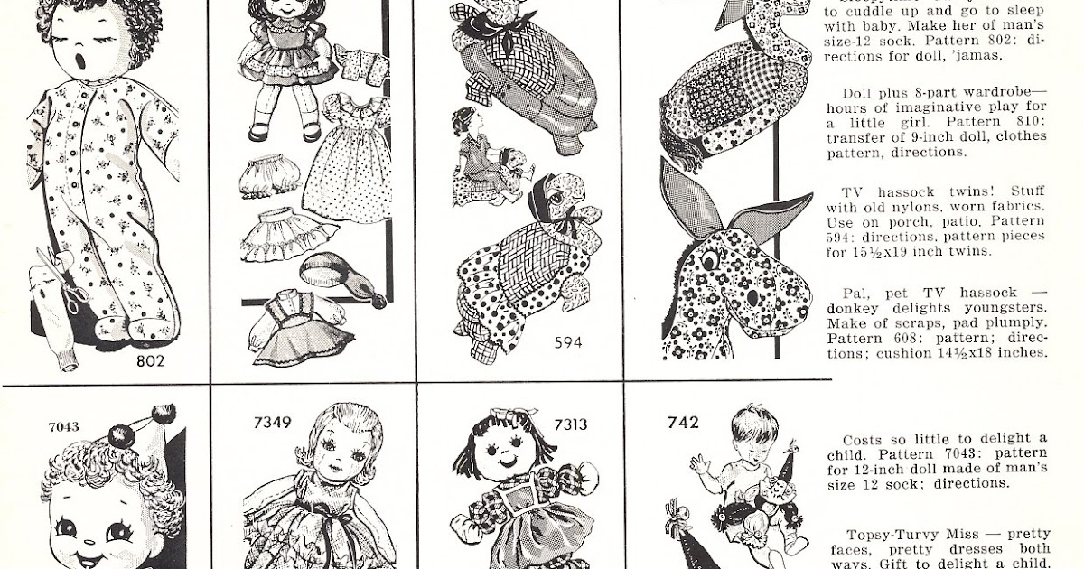 vintage cloth doll patterns cloth doll patterns in 1960s
