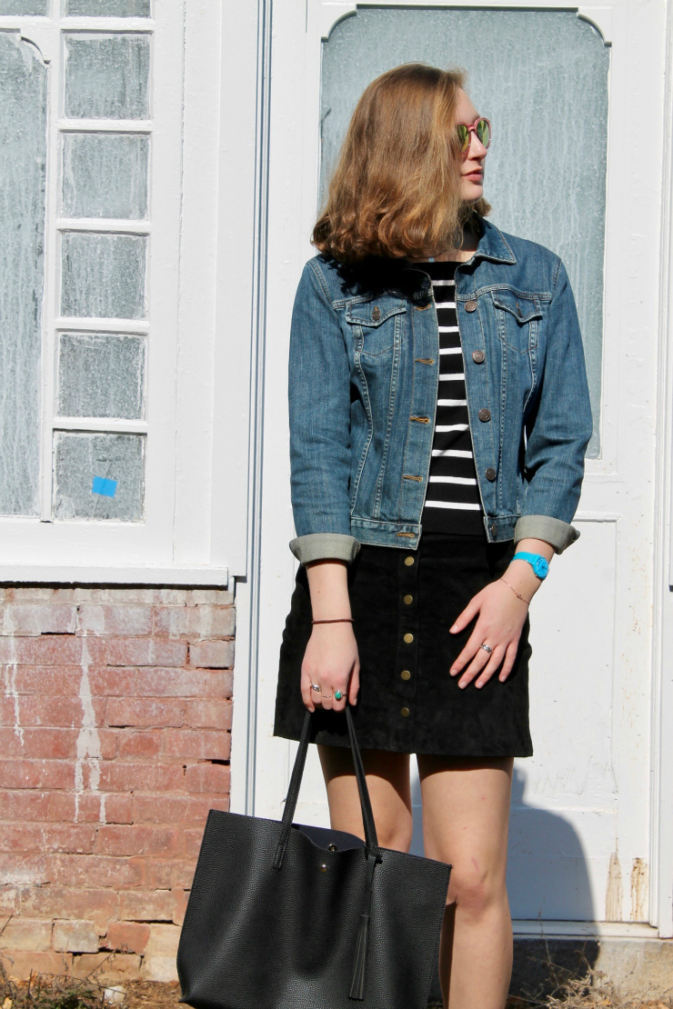 Lands' End jean jacket, black suede mini skirt + Vans high tops #springfashion