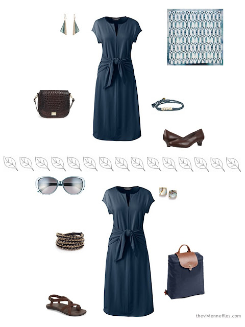 2 ways to style a navy dress for warm weather