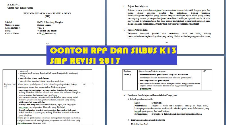 RPP  silabus smp kurikulum 2013 revisi 2017 Hots, PPK, LIterasi, 4c Lengkap IPA, Matematika