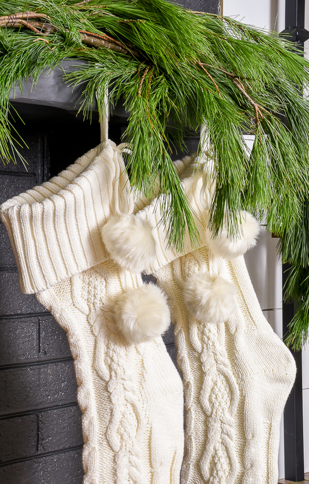 Neutral Christmas mantel, holiday mantel, Christmas, modern farmhouse, Christmas Village, cable knit stockings