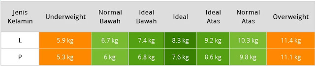 Berat badan ideal bayi usia 5 bulan berapa sich ?